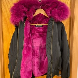 Peri Luxe Winter Coat with hot pink fox fur